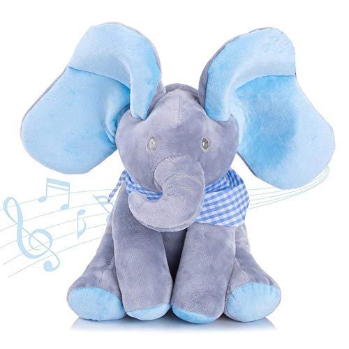 Abester Musicale l'Eléphant Peluche Animal Peluche Musicale Jouets Bébé Enfant Cadeau d'anniversaire Noël ( Bleu Éléphant)