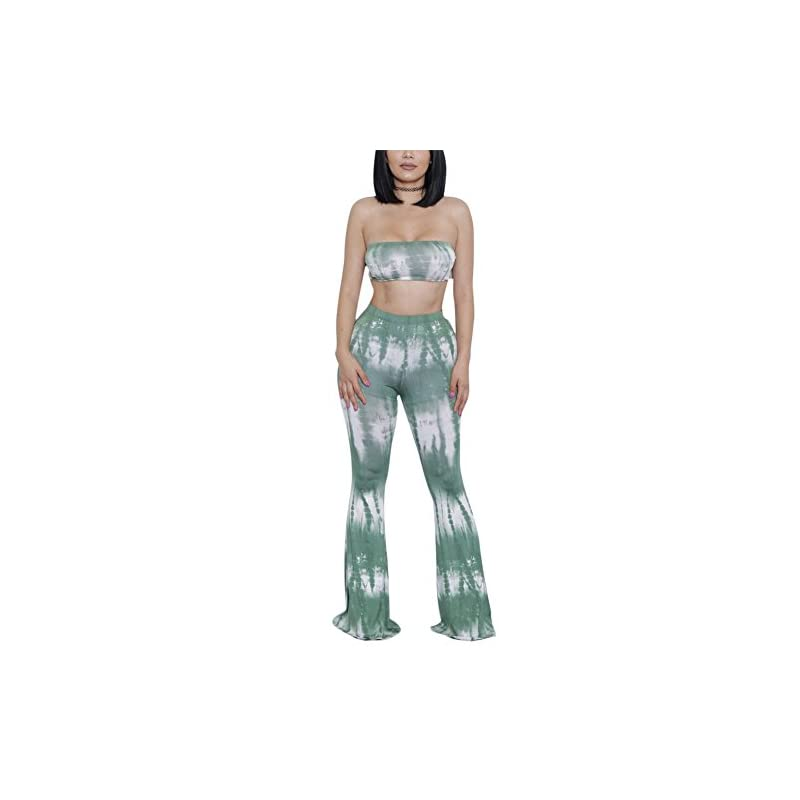 Aro Lora Damen Sexy Zweiteilige Outfits Top Flared Bell Bottom Pants Jumpsuits Strampler – Mehrfarbig – XX-Large