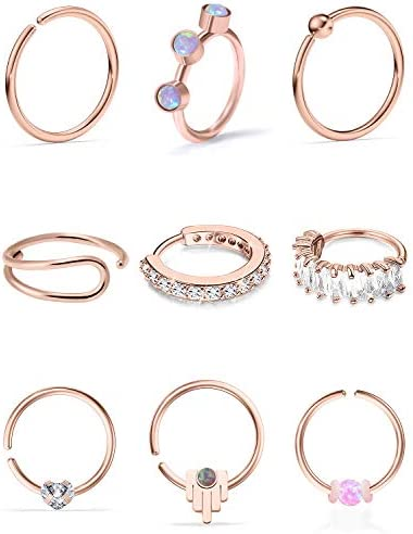 Vsnnsns 18G 20G Nose Rings Hoop Rose Gold Nose Piercing Jewelry Stainless Surgical Steel Daith product image