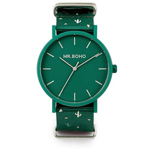 Mr. Boho Reloj 30a-CC Cactus gomato ESF. Verde Correa NATO