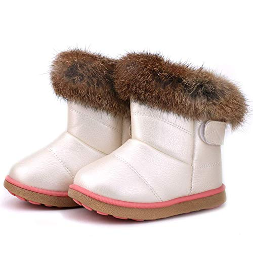 WYSBAOSHU Girl's Winter Snow Boots Warm Outdoor Faux-Fur Flat Shoes(Toddler/Little Kid) (White,CN 27 = US 8.5 Toddler)