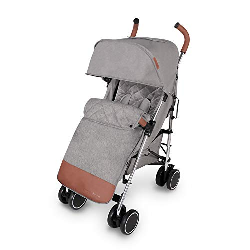Ickle Bubba Discovery Max Stroller   Lightweight Portable Pushchair   from 6 Months to 4 Years   UPF 50 Hood, Rain Cover, Seatliner & Footmuff, Cup Holder   Grey on Silver Frame