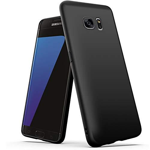 wsky Handyhülle Kompatibel mit Samsung Galaxy S7 Hülle Schwarz, Ultra Dünn Silikon Handyhülle, Anti-Fingerabdruck Matt Case, Stoßfest Schutzhülle für Samsung Galaxy S7