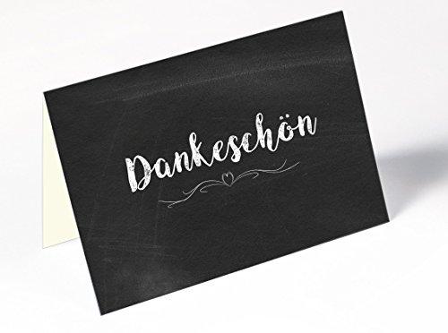 Dankeskarten - 40 Klappkarten mit 40 Umschlägen : Dankeschon, Danksagung nach Hochzeit, Geburtstag, Konfirmation u.v.m. :