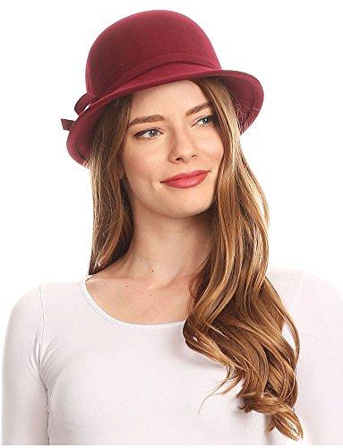 Sakkas 0621LC - Cappello Invernale da Donna con Fibbia in Lana Stile Vintage Cloche con Fiocco in Nastro - Burgandy/Taglia Unica