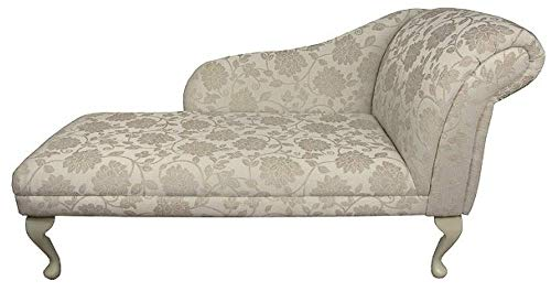 "52"" Large Classic Chaise Longue - Sofa Day Bed - Woburn Floral Beige Fabric - Right Facing With Queen Anne Legs"