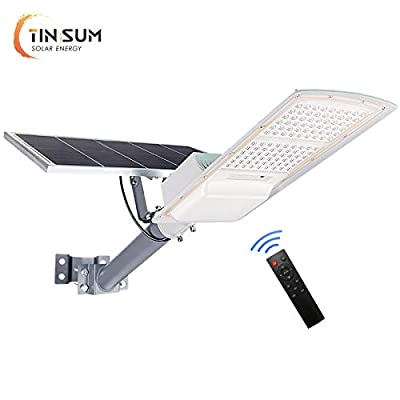 200W Solar Outdoor Street Lights,18000 Lumens Dusk to Dawn Solar Led Light with Remote Control, 6000K Daylight White Solar Security Flood Lights for Yard, Street, Basketball Court, Parking Lots,Garde