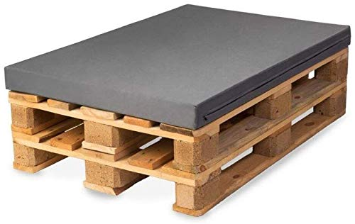 TexDeko Paletten-Kissen für Europaletten aus Kunstleder Sitzpolster In- & Outdoor Set (Polsterhöhe: 10CM, Grau)