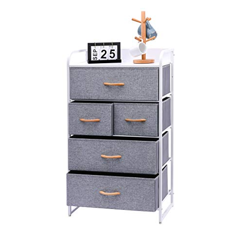 Kamiler 5-Drawer Dresser, 4-Tier Storage Organizer, Tower Unit for Bedroom, Hallway, Entryway, Closets - Sturdy Steel Frame, Wooden Top, Removable Fabric Bins(White)