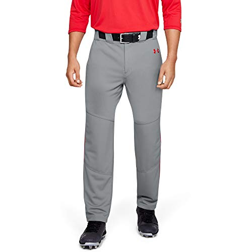 Under Armour Herren Utility-Baseballhose mit Paspelierung, Herren, Hosen, Utility Relaxed Piped Baseball Pants, Baseball Grau (083)/Rot, Large