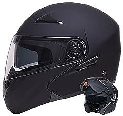 Składany kask Integralhelm Kask motocyklowy RALLOX 109 czarny/matowy z osłoną przeciwsłoneczną (S, M, L, XL) rozmiar L