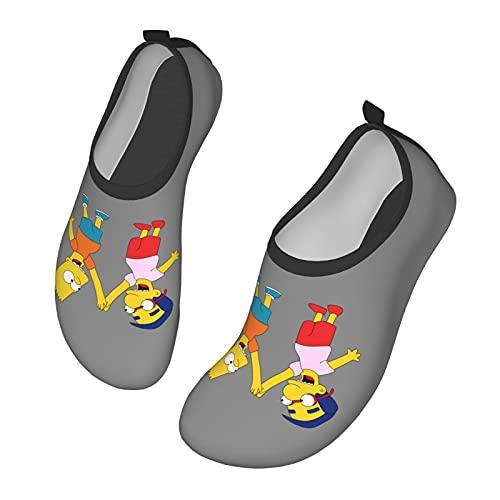 Sim-Psons - Scarpe da ginnastica da uomo, da donna, per nuotare all'aperto, nuotare a piedi nudi, per spiaggia, corsa, snorkeling, spiaggia, piscina, surf, yoga., Nero (Nero ), 33 EU