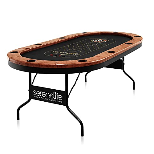 SereneLife Foldable and Portable Poker/Casino Table - Game Table for 10 Players, Casino Grade Cloth with Stylish and Water-Resistant Cushioned Rail with Ten Drink Holders SLPT720