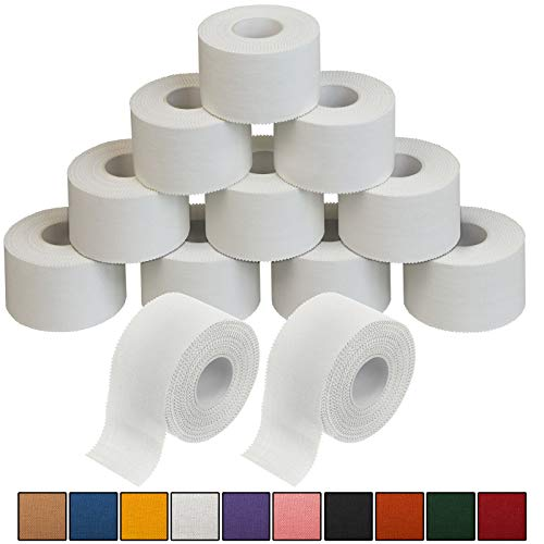 ALPIDEX 12 x Cinta Adhesiva Deportiva 3,8 cm x 10 m Sport Tape, Color:Blanco