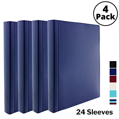 Dunwell Binder with Plastic Sleeves (Navy Blue, 4 Pack), 24-Pocket Bound Presentation Book with Clear Sleeves, Displays 48 Pages of 8.5x11 Inch Letter Size Inserts, Sheet Protector Binder