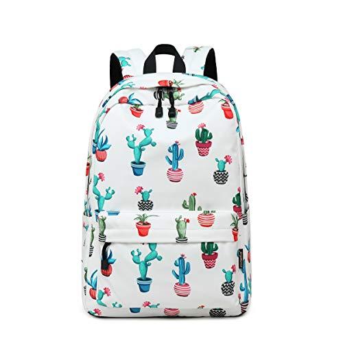 """Acmebon Mochila Estampada Moderna para Niñas Mochila Informal del Estudiante Cabe Un Portátil De 14"""" Cactus de Color"""