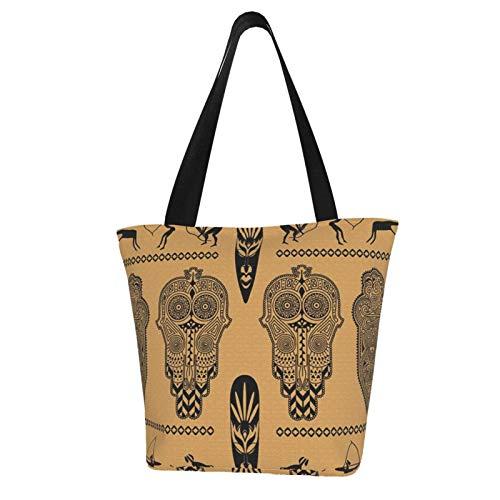 SLAFD Waterproof Women Canvas Shoulder Bag, African Ornament Casual Handbag Shopping Bag Travel Beach Tote Bag for Women Ladies
