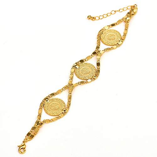 N a Gold Farbe Türken Muslim Islam Armreif Arabischer Schmuck Afrikanische Länge 24cm Türkei Münz Armband Für Frauen