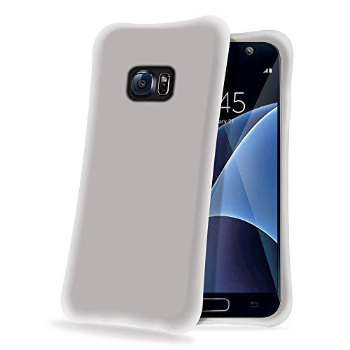 Celly Ice Cube doorschijnend, wit - kussenslopen voor mobiele telefoons (beschermhoes, Samsung Galaxy S7, doorschijnend, wit)
