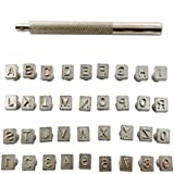 """TIHOOD Capital Letters and Numbers Stamp Set, 1/4""""/6mm Alphabet Stamp Tools Set Leather Craft Stamping Tools Leather Art Craft Tool (6.5mm - 36pcs)"""