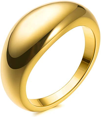 14k Gold Plated Chunky Thick Dome Gold Rings Wedding Band Statement Rings High Polish lightweight product image