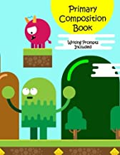 Primary Composition Book: Story Paper Notebook with Writing Prompts for K-2 (Space on Top for Drawing & Dotted Midlines Below, 8.5x11 inches, 58 pages, Monster Video Game Design)