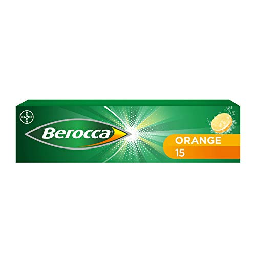 Berocca Vitamin C Effervescent Tablets, with Magnesium, Vitamin B12 & Vitamin B Complex, Orange Flavour, 1 Pack of 15 Tablets - 2 Weeks Supply