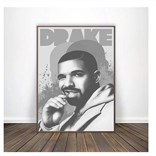 Suuyar Drake Musik Retro Vintage Schwarz-Weiß-Poster Leinwand Kunstdruck Home Decor Druck auf Leinwand Dekoration Geschenk -50x70cm ohne Rahmen
