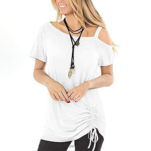DUIGUN Damen top Best of Bandeau top Damen Sommer Loose V-Ausschnitt Einfarbig Nähte Kurzarm T-Shirt Tops Elegant Tunika