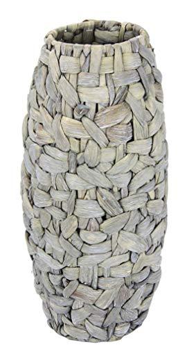 Blumenvase Topf Übertopf Vase für künstliche Blumen Kunstblumen oder Pampasgras Pflanzen Muttertag Deko längliche große schmale hohe Handgemachte geflochtene Tisch-Vase Bodenvase