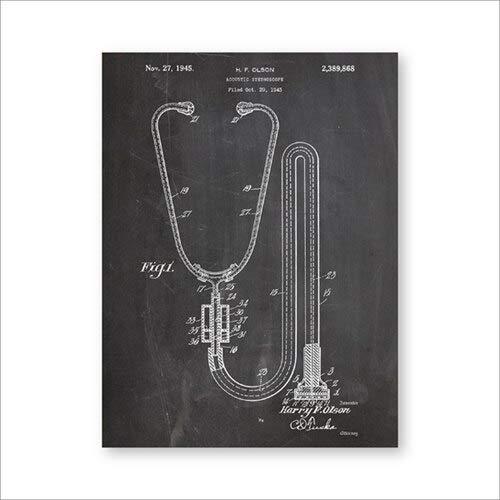 Stethoskop Wandkunst Medizinische Poster Arztpraxis Dekoration Komplexe Malerei Geschenk Wanddekoration A5 15x21cm