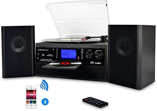 Bluetooth Record Player Turntable with Stereo Speaker, LP Vinyl to MP3 Converter with CD, Cassette, Radio, Aux in and USB/SD Encoding, Audio Music Player Built in Amplifier, Remote Control