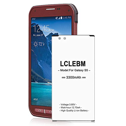 Galaxy S5 Active Battery, LCLEBM 3300mAh Replacement Li-ion Battery for Samsung Galaxy S5 Sport SM-G860 (Sprint) and Galaxy S5 Active SM-G870 (AT&T), Galaxy S5 Battery [18 Month Warranty]