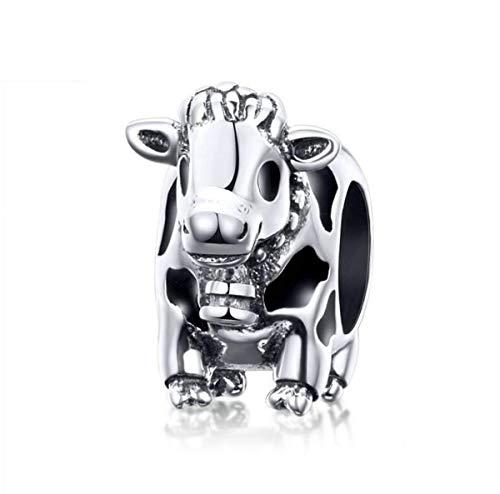 YASHUO Jewellery Tier-Charms, Sterlingsilber, Armbänder für Frauen, Marienkäfer, Schildkröte, Charms, Einhorn-Anhänger für Armbänder, Mutter, Tochter, Halskettenanhänger cow Charm