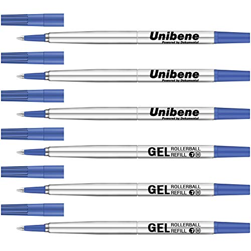 Unibene Parker Compatible Rollerball Refill 6 Pack, 0.7mm Medium Point - Blue, Smooth Writing Replaceable German Gel Ink Pen Refills for IM Sonnet Urban Pens