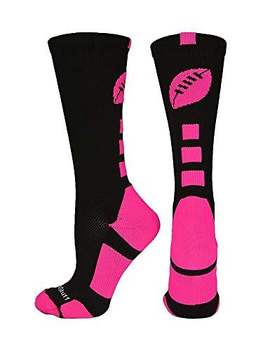 MadSportsStuff Football Logo Crew Socks (Black/Neon Pink, Medium)
