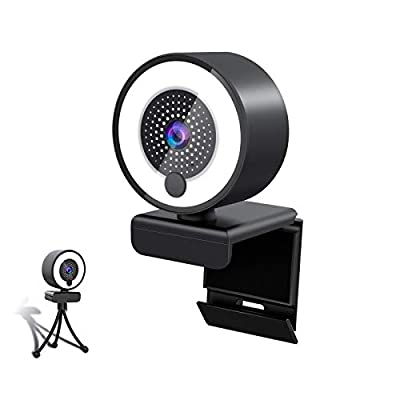 Webcam,1080P Webcam with Microphone & Ring Light, USB HD PC Web Camera Video Camera with Tripod for Streaming Gaming Conferencing Mac Windows Desktop Computer Xbox Skype OBS Twitch YouTube