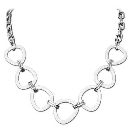 Amello Damen-Halskette Edelstahl Dreieck weiß ESKX07W