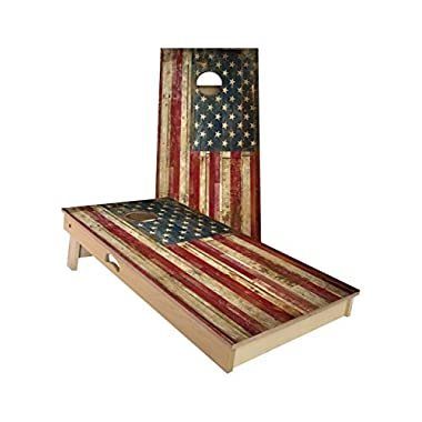 American Cornhole Association Official Cornhole Boards & Bags Set American Flag Design - Heavy Duty Wood Construction - Regulation Size Bean Bag Toss For Adults, Kids - Lawn, Tailgate, Camping