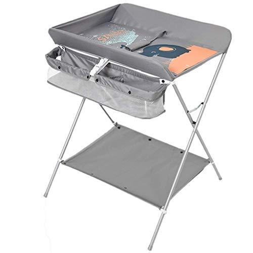 Klappbarer Wickeltisch für kleine Räume, Wickelkommode für Kleinkinder mit Aufbewahrung, 0-3 Jahre alt, grün/grau