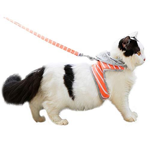 HEEPDD Katzengeschirr, Verstellbarer auslaufsicherer Katzenlaufgeschirr Kitty Streifen Kapuzeweste Halsband und Leine für Katzen und kleine Haustiere (Orangen)
