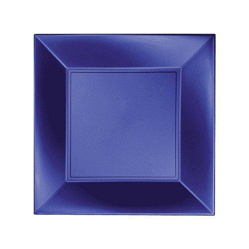8 Assiettes plastique bleu perle 23 x 23 cm