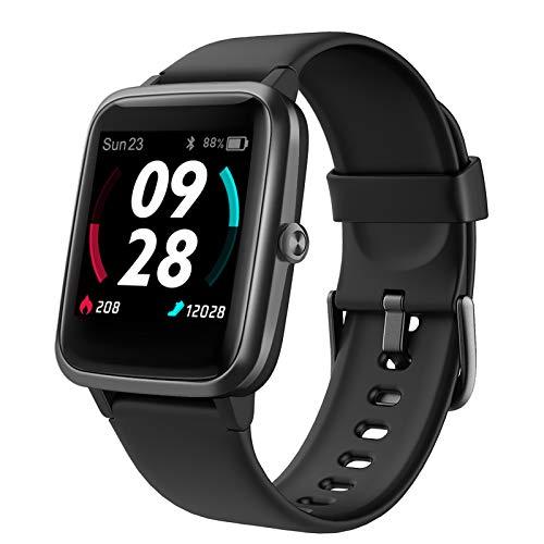 LIFEBEE Smartwatch, Reloj Inteligente Impermeable IP68 para Hombre Mujer, Pulsera Actividad Inteligente con Pulsómetros, Monitor de Sueño, Podómetro Reloj Deportivo para Android iOS (Negro)