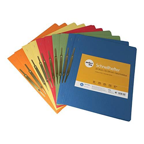 perfect line 20 Karton-Schnell-Hefter DIN-A4 bunt, Recycling Papp-Mappen nachhaltig in Deutschland hergestellt, 250 g/qm, in 5 bunten Farben, kaufmännische & Behörden-Heftung, Ablage-Mappe zum Ordnen
