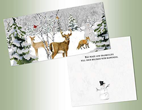LPG PERFORMING ARTS BOXED CHRISTMAS CARDS Winter Animal Scene Long Non-flake Glitter Embellished Boxed Christmas Cards with Full Color Inside Designs (14 glitter cards, 14 envelopes) (66266)