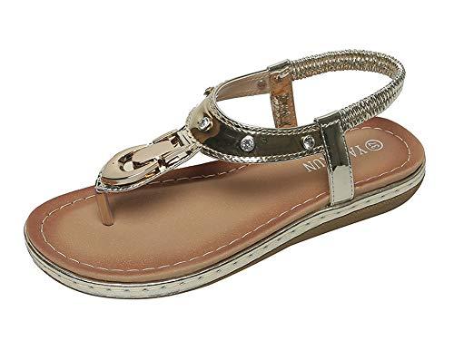 Sandalias planas con clip para mujer, sandalias de verano, playa, vacaciones, ocio, cómodas, modernas y casuales, 123, dorado, 36