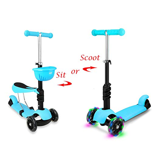 STOTOY Kleinkind-Scooter Deluxe 3-in-1 Micro Mini Tretroller mit abnehmbarem Sitz, LED blinkenden Rädern und verstellbarem Lenker für Kinder