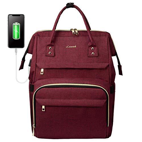 LOVEVOOK Laptop Backpack(17-Inch), Womens Laptop Bag Large Backpack Purse School Backpack Bookbag, Wine Red