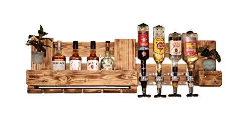 Weinregal Holz Schnapsregal vintage Getränkespender Küche Bar Regal Wandregal rustikal Europalette - 3