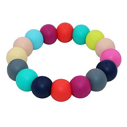 Sensory Teething Bracelet for Baby Kids Boys and Girls – Silicone Chewing Beads Jewelry for Infants Toddler, Autism, ADHD, Biting, Baby Teething Ring Toddler Chew Toys